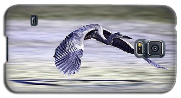 Galaxy S5 Case featuring the photograph Great Blue Heron In Flight by John Haldane