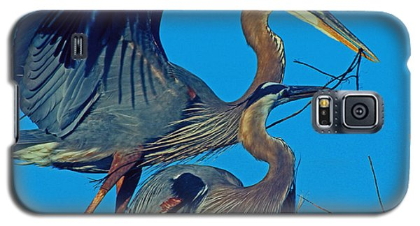 Galaxy S5 Case featuring the photograph Great Blue Herons - Nest Building by Larry Nieland