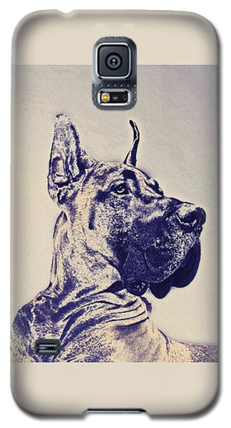 Great Dane- Blue Sketch Galaxy S5 Case by Jane Schnetlage