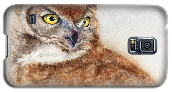 Galaxy S5 Case featuring the painting Great Horned Owl by Bonnie Rinier