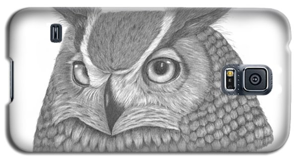 Galaxy S5 Case featuring the drawing Great Horned Owl by Patricia Hiltz