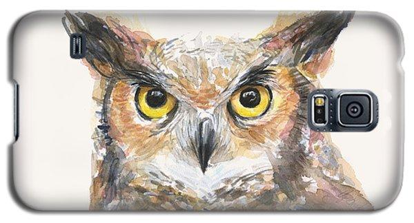 Great Horned Owl Watercolor Galaxy S5 Case by Olga Shvartsur