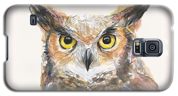 Owl Galaxy S5 Case - Great Horned Owl Watercolor by Olga Shvartsur