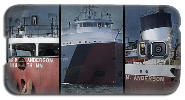 Great Lakes Freighter Triptych Arthur M Anderson Galaxy S5 Case