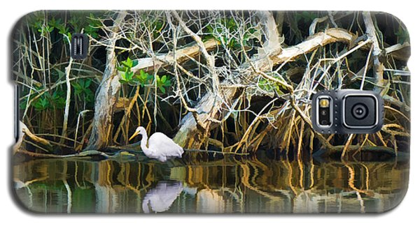 Great White Egret And Reflection In Swamp Mangroves Galaxy S5 Case