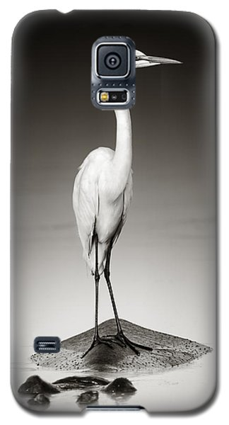 Egret Galaxy S5 Case - Great White Egret On Hippo by Johan Swanepoel