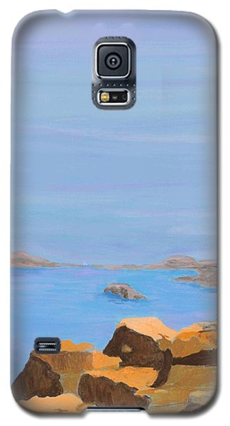 Galaxy S5 Case featuring the painting Greece Inlet by Artists With Autism Inc