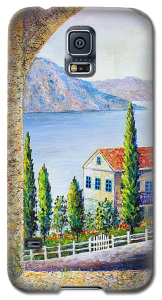 Galaxy S5 Case featuring the painting Greek Arch Vista by Lou Ann Bagnall