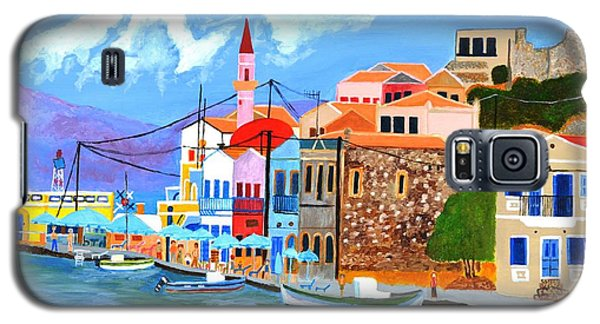 Galaxy S5 Case featuring the painting Greek Coast by Magdalena Frohnsdorff