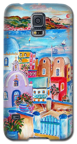 Greek Flag In Santorini Galaxy S5 Case by Roberto Gagliardi