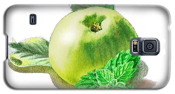 Galaxy S5 Case featuring the painting Green Apple And Mint Happy Union by Irina Sztukowski