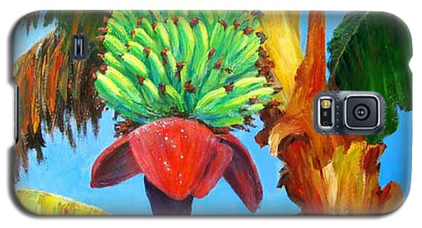 Galaxy S5 Case featuring the painting Green Bananas by Cheryl Del Toro