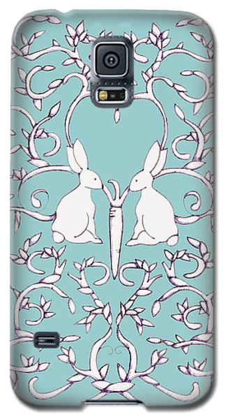 Galaxy S5 Case featuring the drawing Green Blue Rabbits Leaves by Donna Huntriss