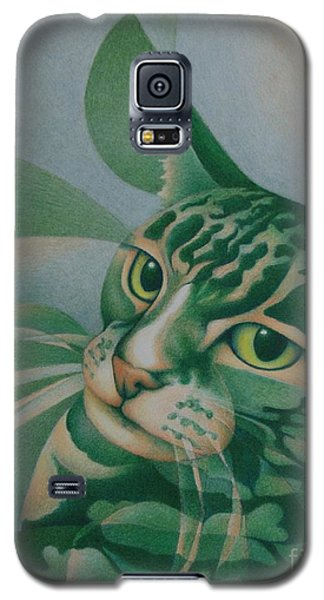 Galaxy S5 Case featuring the painting Green Feline Geometry by Pamela Clements