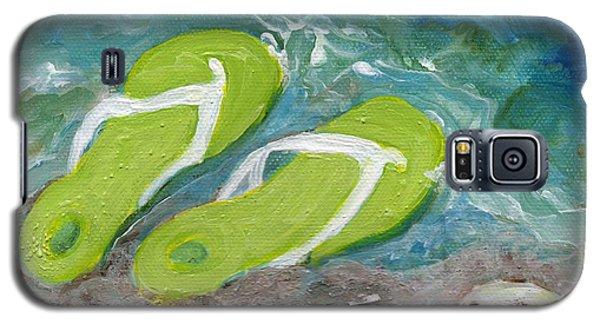 Green Fliip Flops On Tybee Galaxy S5 Case by Doris Blessington