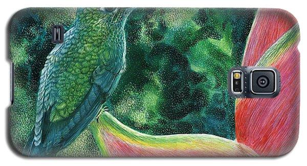 Galaxy S5 Case featuring the drawing Green Hummingbird by Sandra LaFaut