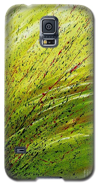 Galaxy S5 Case featuring the painting Green Landscape - Abstract Art  by Ismeta Gruenwald