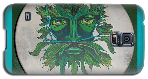 Galaxy S5 Case featuring the painting Green Man On Bodhran by Linda Prewer