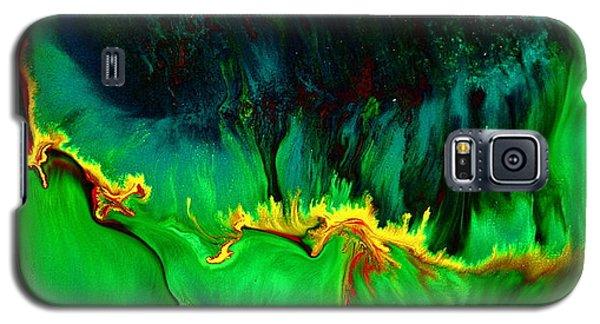 Green Panoramic Horizontal Abstract Art Lifeline By Kredart Galaxy S5 Case