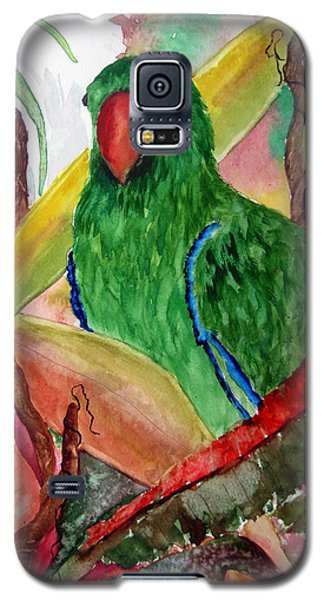 Galaxy S5 Case featuring the painting Green Parrot by Lil Taylor