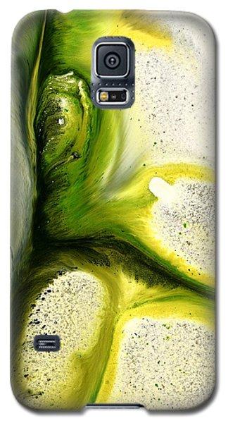 Green Peacock Feather Abstract Wall Art By Kredart Galaxy S5 Case