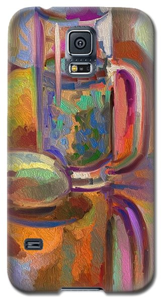 Galaxy S5 Case featuring the digital art Green Tea On Piano Bench by Clyde Semler