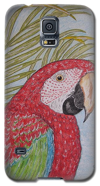 Galaxy S5 Case featuring the painting Green Winged Macaw by Kathy Marrs Chandler