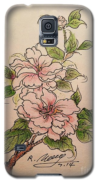 Galaxy S5 Case featuring the drawing Greeting Flower by Rose Wang