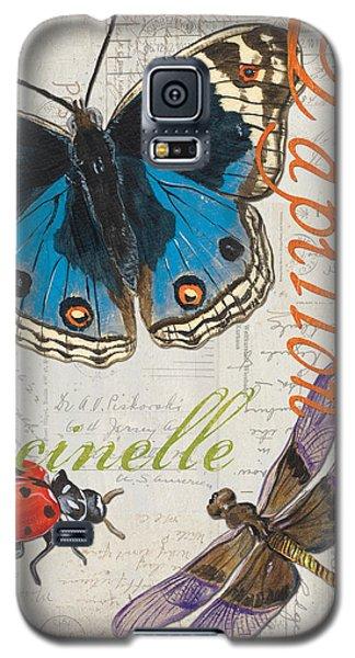 Ladybug Galaxy S5 Case - Grey Postcard Butterflies 4 by Debbie DeWitt
