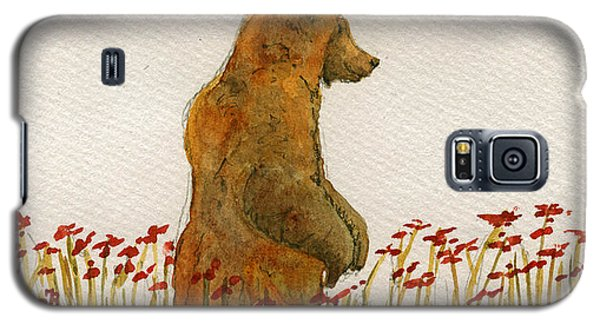 Grizzly Brown Bear Flowers Galaxy S5 Case