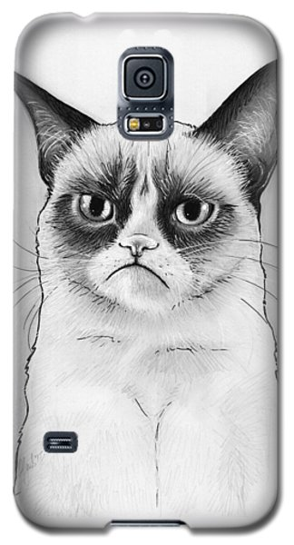 Cats Galaxy S5 Case - Grumpy Cat Portrait by Olga Shvartsur