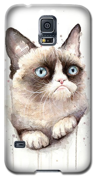 Cats Galaxy S5 Case - Grumpy Cat Watercolor by Olga Shvartsur