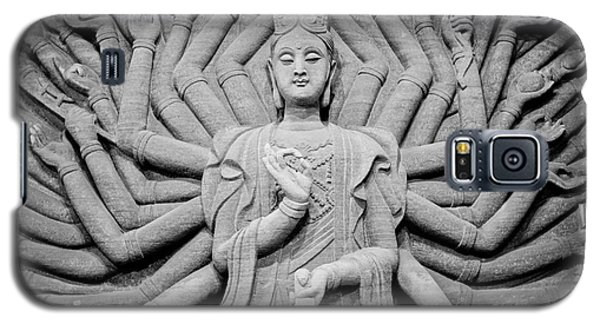 Galaxy S5 Case featuring the photograph Guanyin Bodhisattva In Black And White by Dean Harte