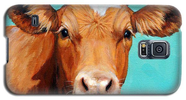 Cow Galaxy S5 Case - Guernsey Cow On Light Teal No Horns by Dottie Dracos