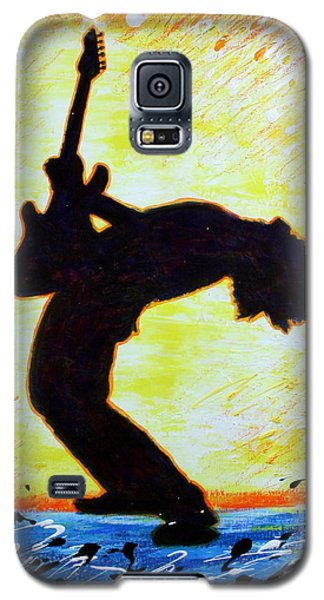 Guitarist Rockin' Out Silhouette Galaxy S5 Case