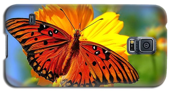 Galaxy S5 Case featuring the photograph Gulf Fritillary by Ludwig Keck
