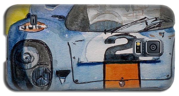 Galaxy S5 Case featuring the painting Gulf Porsche by Anna Ruzsan