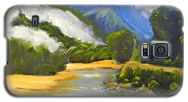 Galaxy S5 Case featuring the painting Haast River New Zealand by Pamela  Meredith
