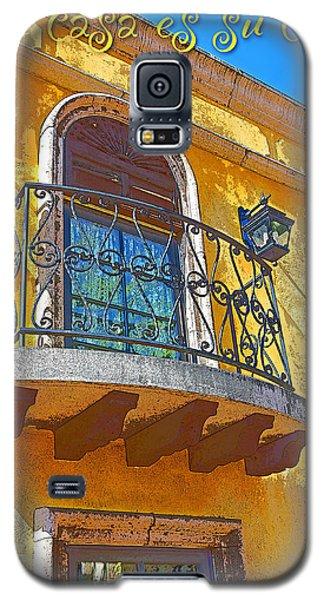 Hacienda Balcony Railing Lanterns Mi Casa Es Su Casa Galaxy S5 Case by A Gurmankin
