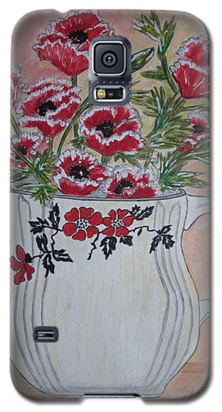 Galaxy S5 Case featuring the painting Hall China Red Poppy And Poppies by Kathy Marrs Chandler