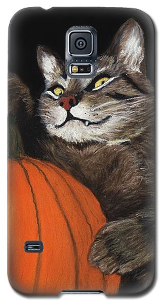 Galaxy S5 Case featuring the painting Halloween Cat by Anastasiya Malakhova