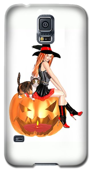 Halloween Witch Nicki With Kitten Galaxy S5 Case