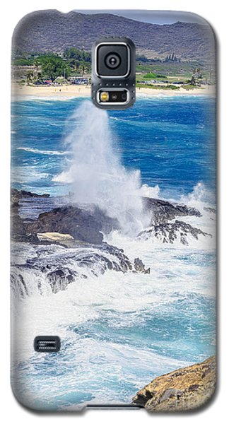 Galaxy S5 Case featuring the photograph Halona Blowhole Huge Geyser by Aloha Art