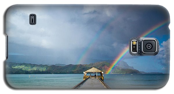 Hanalei Bay Pier And Double Rainbow Galaxy S5 Case by Roger Mullenhour