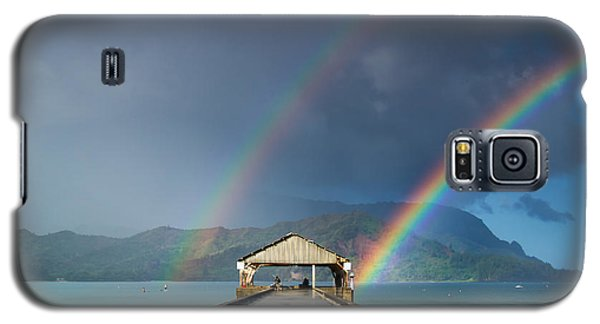 Hanalei Pier And Double Rainbow Galaxy S5 Case by Roger Mullenhour