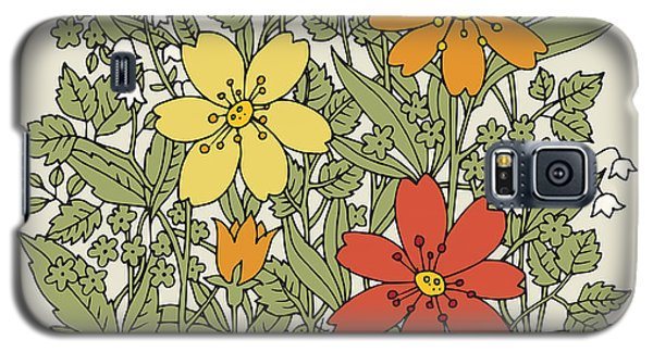 Branch Galaxy S5 Case - Hand Drawn Flowers On White Background by Astudio