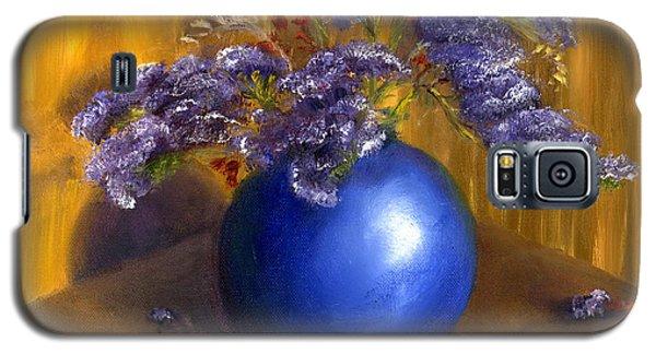 Hand Painted Still Life Blue Vase Purple Flowers Galaxy S5 Case