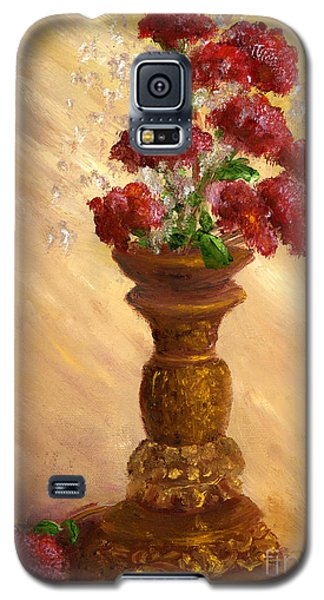 Hand Painted Still Life Red Flowers Gold Vase Galaxy S5 Case