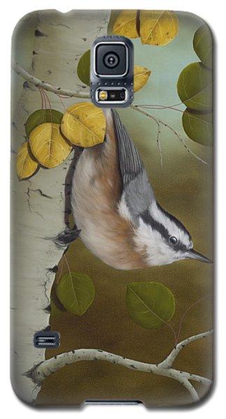 Wildlife Galaxy S5 Case - Hanging Around-red Breasted Nuthatch by Rick Bainbridge