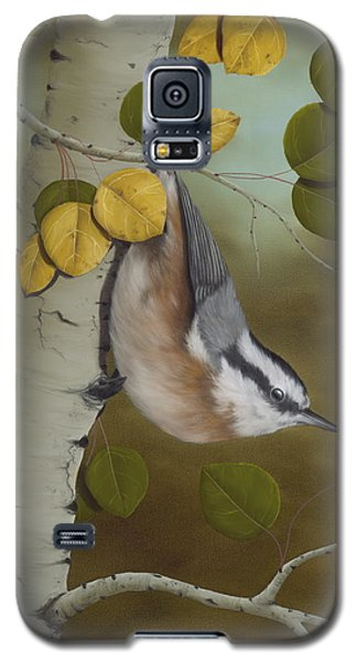 Wildlife Galaxy S5 Case - Hanging Around-red Breasted Nuthatch by Rick Bainbridge